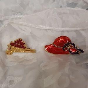 Bundle Brooch Style Pins Hat & Heart Cart